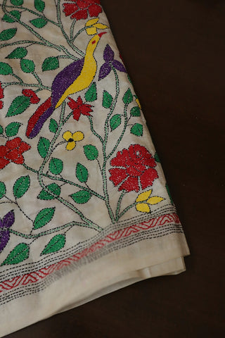 Red with Green Floral Full Work Kantha Tussar Silk Blouse