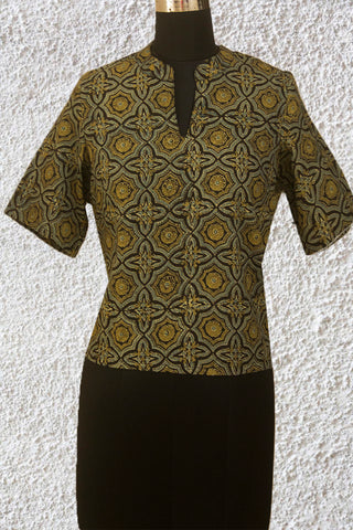 Olive Green with Indigo Ajrak Fabric Stitched Blouse