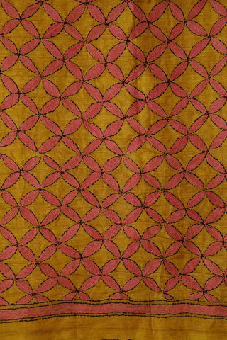 Yellow with Pink Full Work Kantha Tussar Silk Blouse