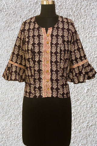 Black Floral Ajrak Crop Top with Bell Sleeves