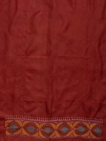 Maroonish Red Hand worked Kantha tussar silk Blouse Fabric