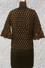 Black Small Floral Ajrak Crop Top with Bell Sleeves- 36 Size