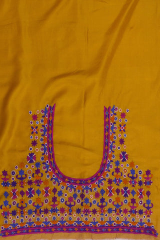 Golden Yellow Hand Done Pakko Work Silk Blouse Fabric