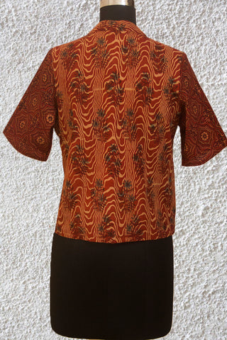 Maroon Ajrak Crop Top