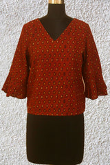 Maroon with Beige Ajrak Crop Top- 38 Size