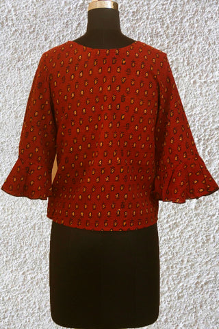 Maroon with Beige Ajrak Crop Top