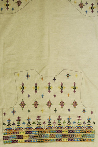 White with Multi Colour Soof Embroidery Work Linen Blouse Fabric