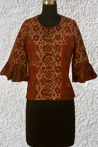 Maroon with Beige Ajrak Crop Top with Bell Sleeves- 38 Size