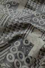 Grey Zari Border Full Work Kantha Tussar Silk Blouse