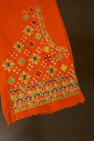 Orange Squares Hand Done Kutch Work Blouse Fabric