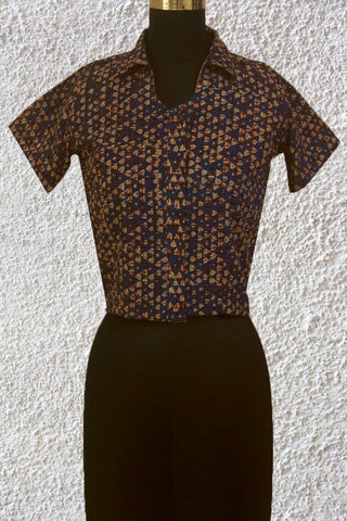 Indigo with Small Triangles Crop Top- 36 & 38 Size