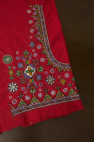 Red with Temple Border Hand Done Kutch Work Blouse Fabric