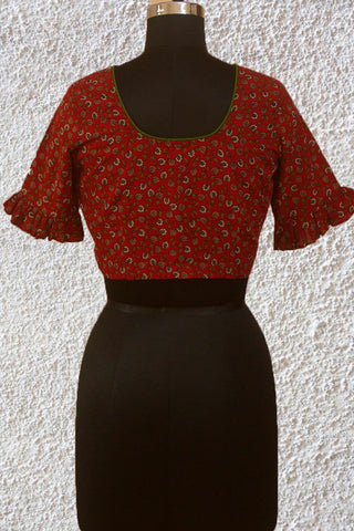 Maroon with Green Handwoven Screen Print Stitched Blouse- 36 & 38 & 40 Size