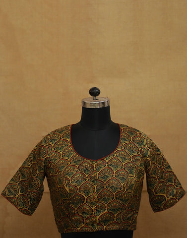 Yellow Floral Gajji Silk Stitched Blouse - 36, 38, 40 & 42 Size
