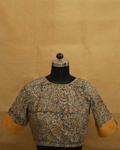 Pleated Front Kalamkari Stitched Blouse - 36, 38, 40 & 42 Size