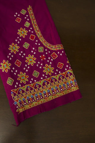 Dark Purple Hand Done Kutch Work Blouse Fabric