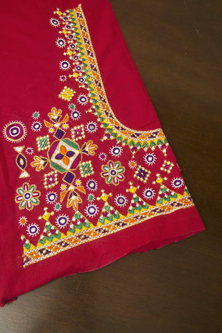 Pink Hand Done H-Kharek Embroidery Work Blouse Fabric