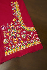 Pink Hand Done Kutch Embroidered Blouse