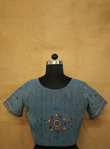 Natural Dyed Hand Embroidered Stitched Blouse - 36, 38 & 40 Size