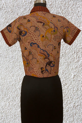 Beige with Maroon Floral  Stitched Blouse