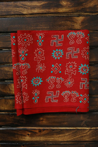 Red with Blue Kantha Embroidered Cotton Blouse Fabric