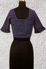 Blue Checks Handwoven Blouse with Flared Sleeve- 36 & 38 & 40 Size