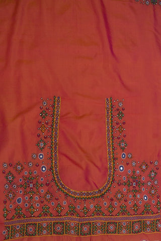 Double Shaded Pinkish Orange Kutch Embroidered Work Silk Blouse Fabric