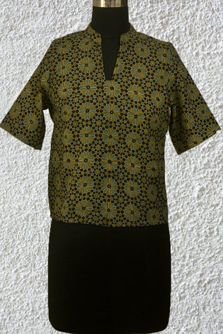 Black with Olive Green Flowers Ajrak Crop Top- 36 & 38 Size