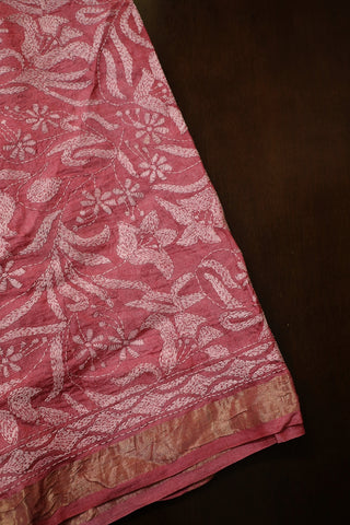 Pink Zari Border Floral Full Work Kantha Tussar Silk Blouse
