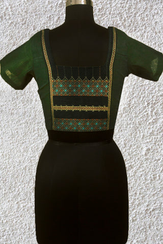 Subdued Green with Kutch Embroidered Patch Back Neck Stitched Blouse- 36 Size