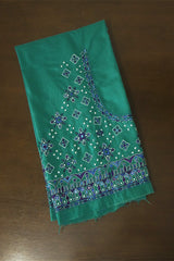 Shades of Blue with White Stars Hand Done Kutch Work Blouse Fabric