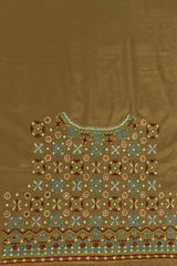 Beige with Blue and Green Circles Hand Done Kutch Work Blouse Fabric