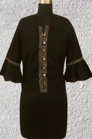 Black Crop Top with Ajrak Trims