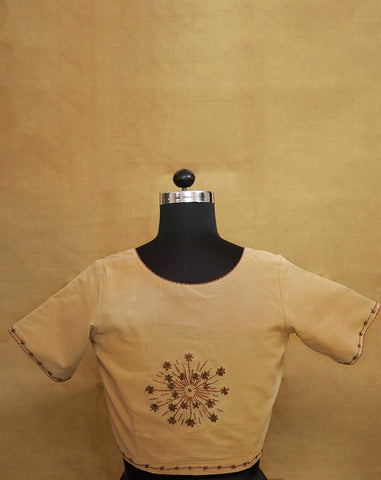 Floral Hand Embroidered Back and Sleeve Stitched Blouse - 36 Size