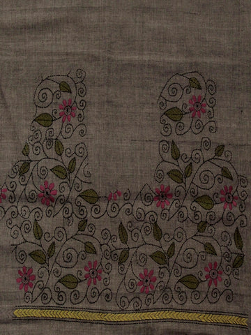 Grey Kantha Embroidered Cotton Blouse Fabric