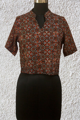 Maroon with Indigo Flower Ajrak Fabric Stitched Blouse