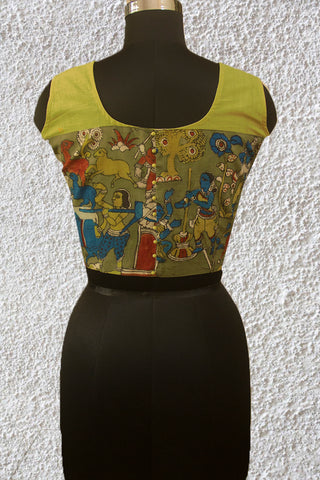 Painted Kalamkari Sleeveless Blouse- 36 & 38 & 40 Size
