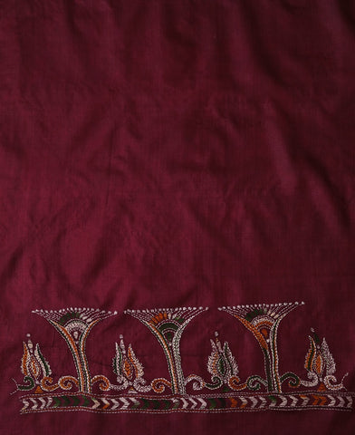 Maroonish pink Kantha Embroidered Tussar Silk Blouse Fabric