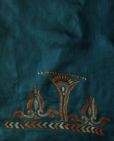 Peacock Blue Kantha Embroidered Tussar Silk Blouse Fabric