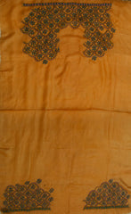 Golden Beige with Blue Flower Kantha Tussar Silk Blouse