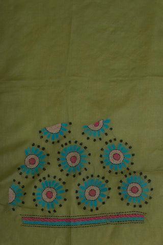 Creamish Green with Blue Circle Kantha Tussar Silk Blouse
