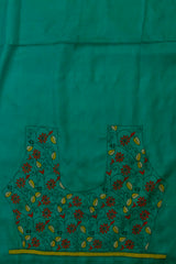 Bluish Green with Maroon Floral Kantha Tussar Silk Blouse