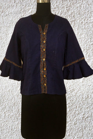 Blue Bell Sleeves Crop Top with Ajrak Trims