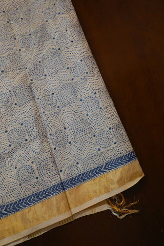 Blue Circles & Squares Zari Border Tussar Silk Blouse