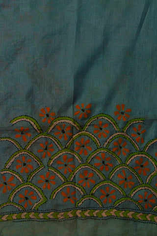 Greeyish Blue with Orange Kantha Tussar Silk Blouse