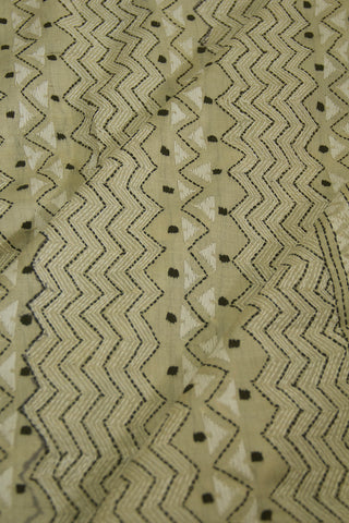 Cream with  Black Geometric Pattern Full Work Tussar Silk Blouse