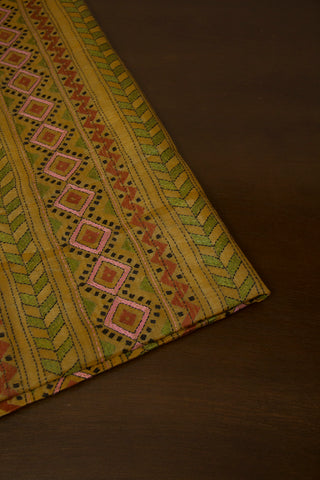 Fenugreek Yellow Kantha Full Work Tussar Silk Blouse