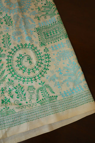 Off White with Green and Blue Full Work Kantha Tussar Silk Blouse