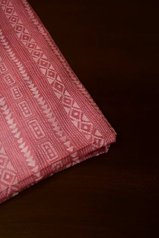 Light Pink Kantha Full Worked Tussar Silk Blouse