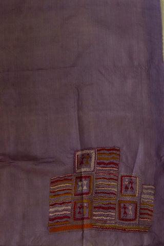 Greyish Purple with Maroon Kantha Tussar Silk Blouse